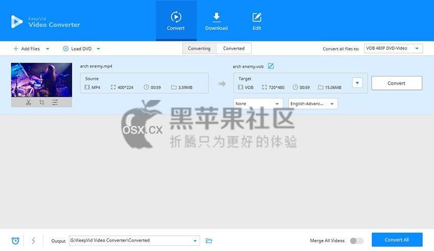 KeepVid Video Converter For Mac v1.0 专业的视频转换工具